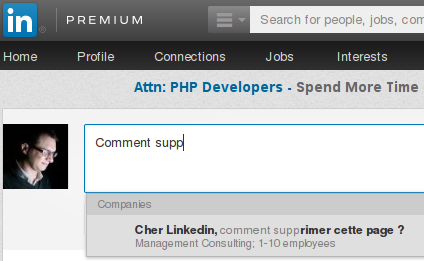 Cher Linkedin, comment supprimer cette page ? Management consulting, 1-10 employees