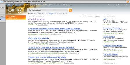 """Rechercher sur Bing.com """"Site en aspx.net"""" , mon propre site personnel est à la fois en première et troisième position. À noter Weborama en quatrième et un site de voyance en cinquième position."""