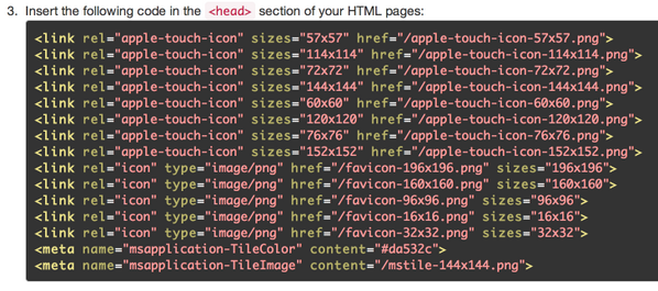 very long snippet to put in your source code for every favicon declaration